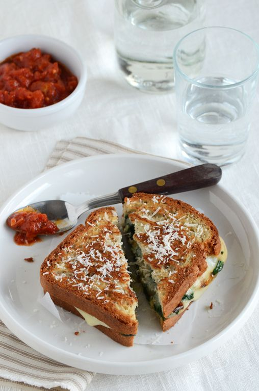 Spinach-Mozzarella Grilled Cheese from @Faith Gorsky Safarini