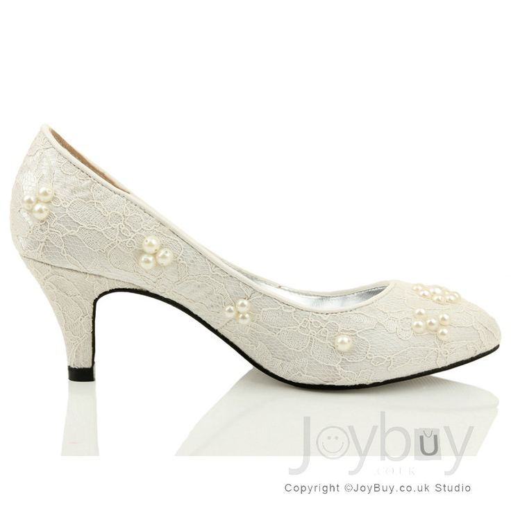 Wedding shoes low heelflowers lace white shoes for wedding for Low heel dress shoes wedding