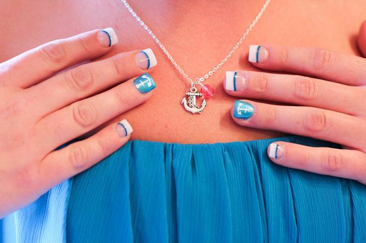 turquoise bridesmaids nails wedding