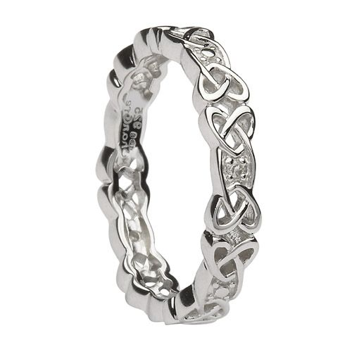 Diamond Celtic Knot Wedding Ring in sterling Silver Made in Ireland by Shanore