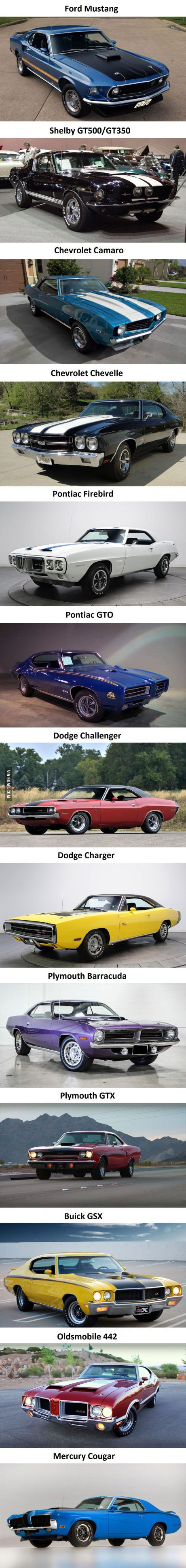The Most Iconic Muscle Cars..Re-pin...Brought to you by #CarInsurance at #HouseofInsurance in Eugene, Oregon