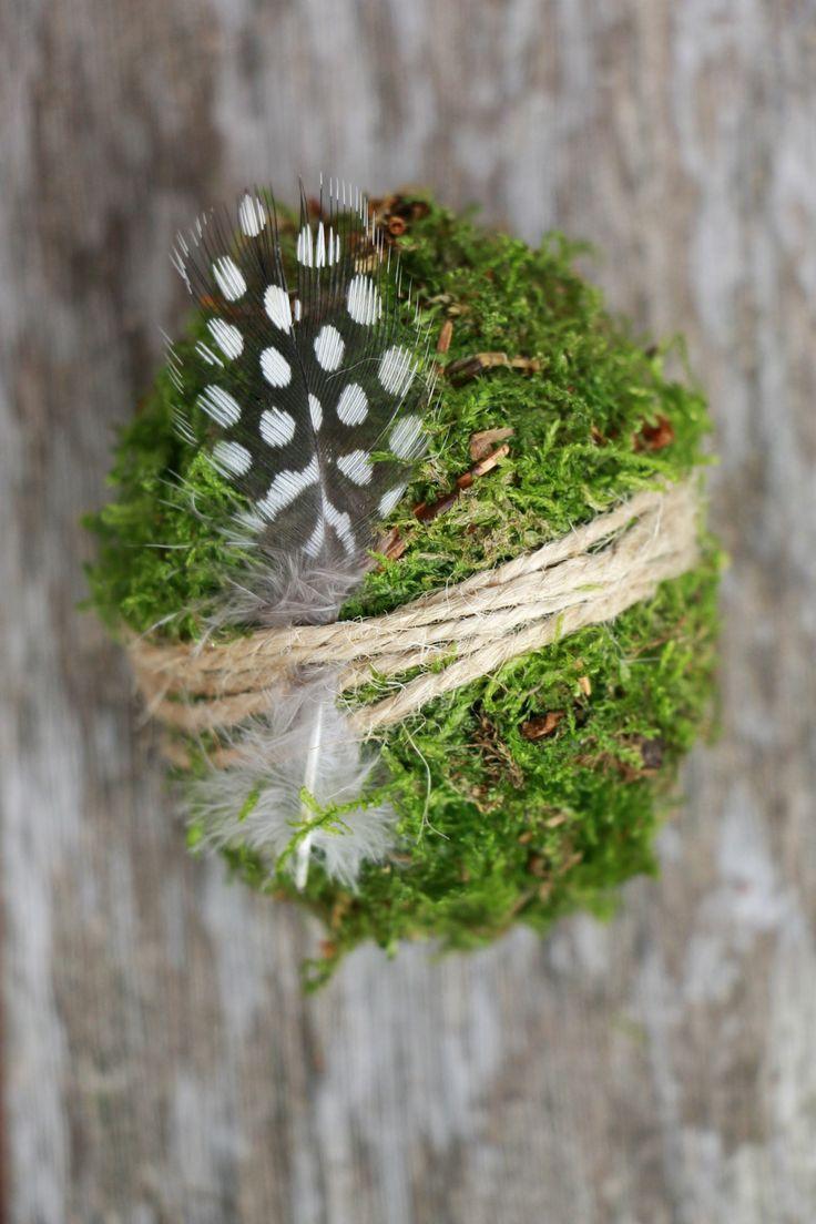 Paaseieren maken van mos: instructies voor een paasideeën gemaakt van natuurlijk materiaal …  – DIY Ideen und DIY Projekte