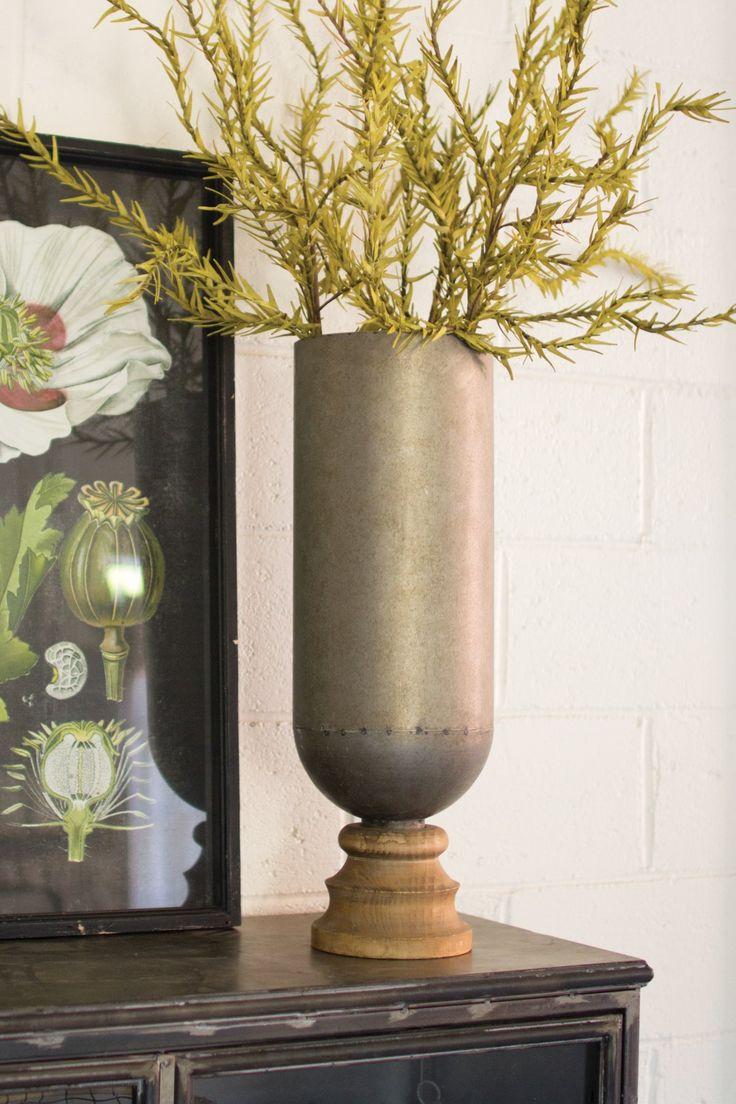 Metal Cylinder Vase With Turned Wooden Base