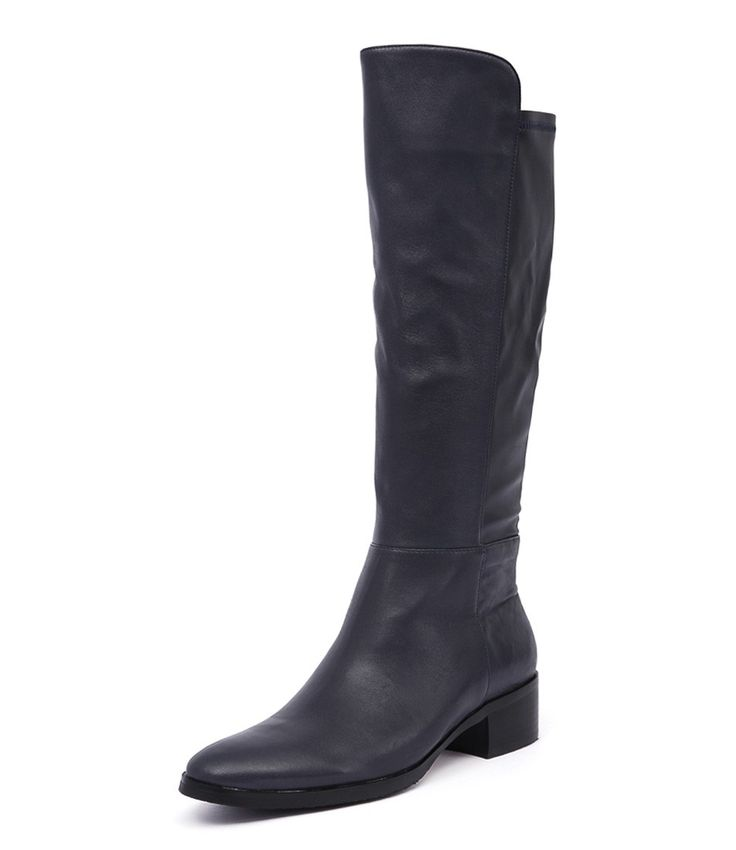 TETLEY by Django & Juliette. Yes please! The great thing about this knee-length boot is it's crafted from soft leather and has an easy fit which means a more forgiving fit for those who have larger calves. Build a winter chic look with tights, a wool midi-skirt, a turtleneck and a military wool coat.