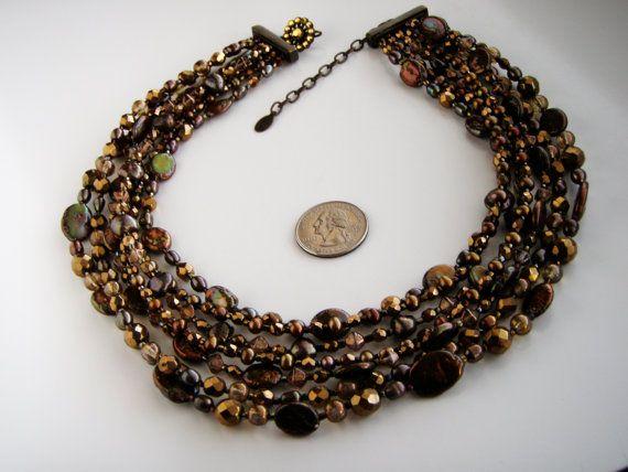 Magnificent Barrera  Brown Faux Pearl & Glass Bead by Jewelrin  #BarreraNecklace #FashionBarrera #BarreraJewelry