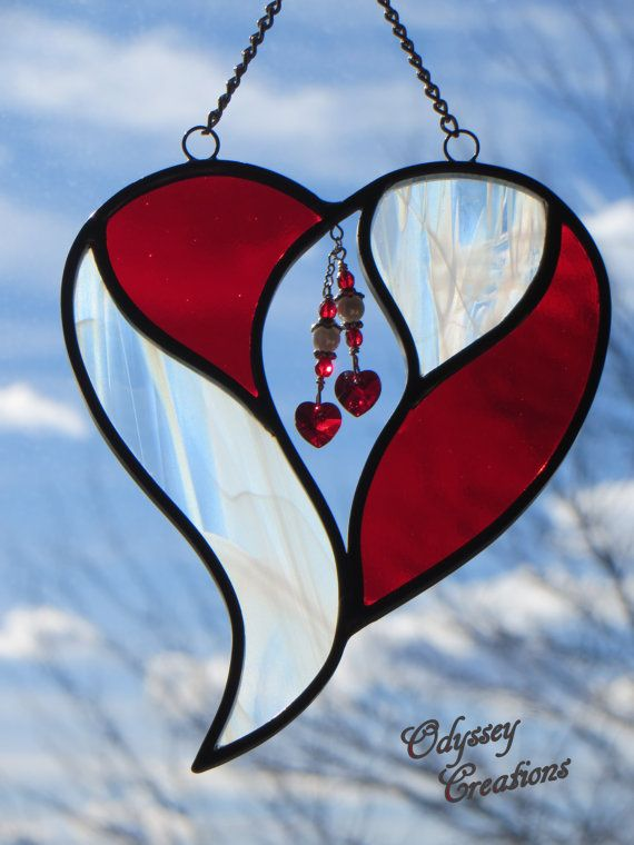 Two Hearts in One   Red and Whispy White by OdysseyCreations, $22.95