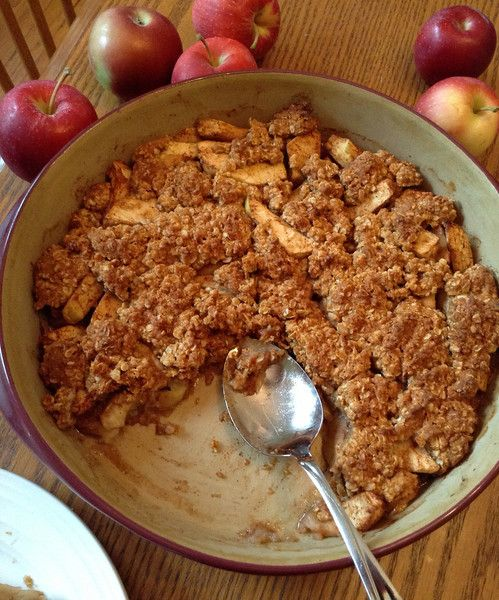 Clean Eating: Apple Crisp 7-8 large apples (peeled and sliced) 2 tsp cinnamon 4 tbs pure maple syrup 3 tbs honey 2 tbs lemon juice 2/3 cup white whole wheat flour 1 cup oats (quick cooking or 5 minute) 1 tsp baking soda 1 tsp baking powder ¼ tsp salt 3 tbs coconut oil