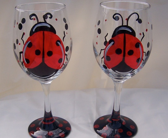 Lady bug wine glass  http://www.rugsandblinds.com/cute-colorful-painted-wine-glasses.aspx