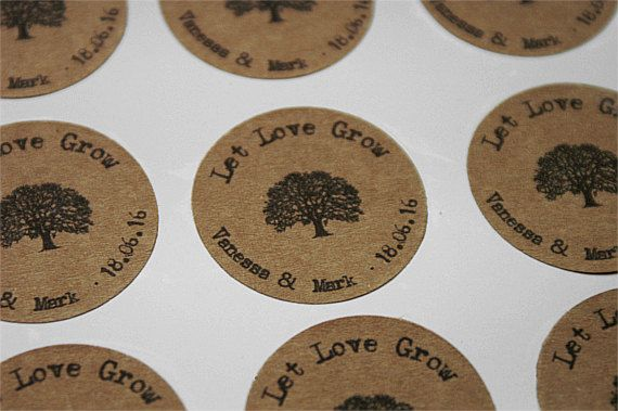 30 Let Love Grow Stickers Personalized Thank by TrocaderoKraft