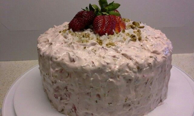 Strawberry Cake Jello Pecans Coconut