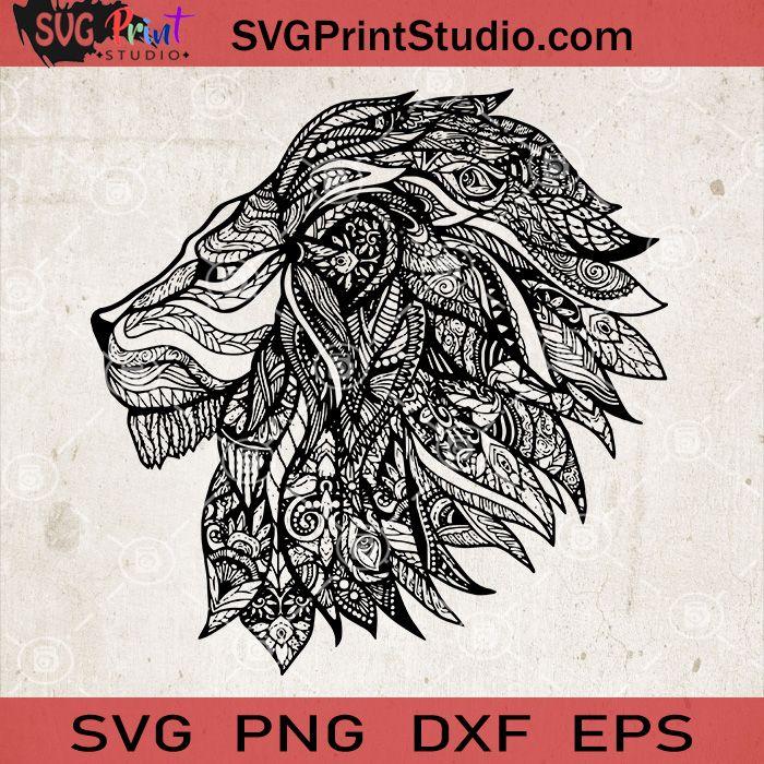Download Lion Mandala SVG, Tiger Mandala SVG, Zentangle Lion SVG ...