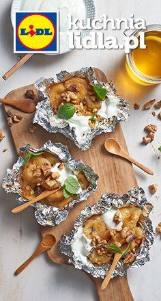 Grillowane banany z miodem i orzechami włoskimi. Kuchnia Lidla - Lidl Polska. #lidl #pawel #banany
