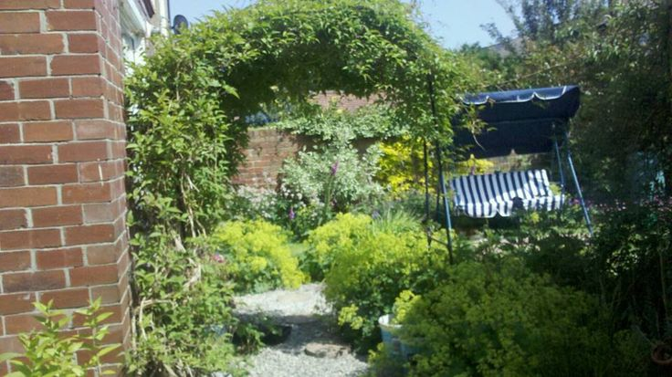 Gardening. My little garden, love tending it, love reading a book on the swing.