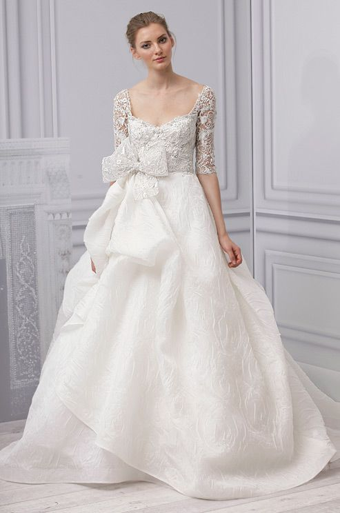 3/4 sleeves on a #wedding dress from Monique Lhuillier, Spring 2013: Monique Lhuillier, Wedding Dressses, Weddingdresses, Wedding Dresses, Weddings, Gowns, Lhuillier Spring, Bows, Spring 2013