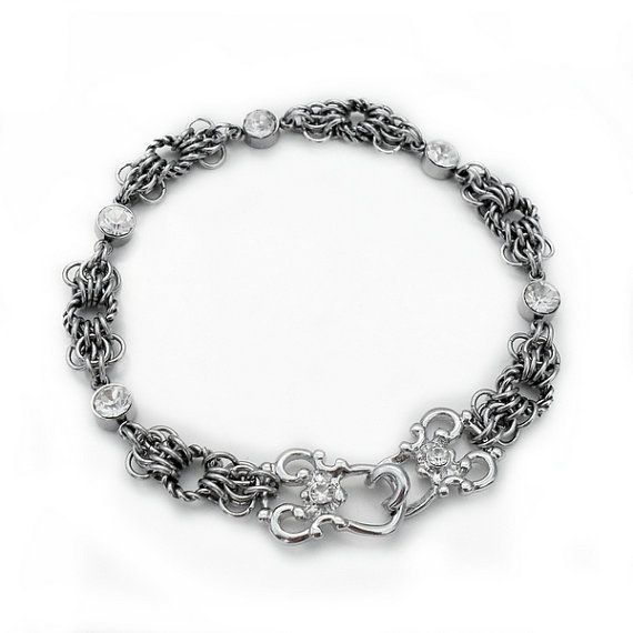 Twisted Butterfly Chainmaille Bracelet - Stainless Steel & Clear Glass Crystal with Gate Hook Clasp