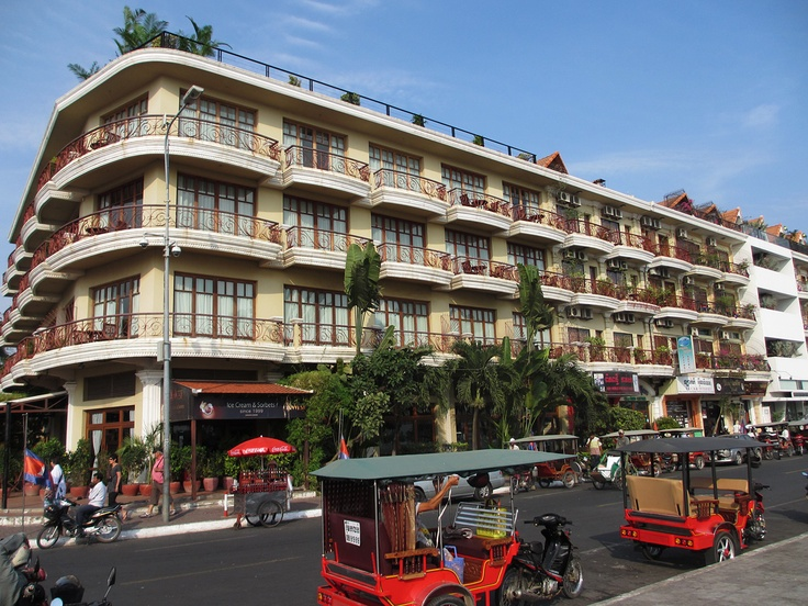 This corner building comprises of the K-West restaurant (ground floor) and the Amanjaya Pancam hotel, both of which have river views and are just a few metres from the famous Wat Ounalom.    Cambodia Hotels and Tours:  www.tropicalasiatravel.com