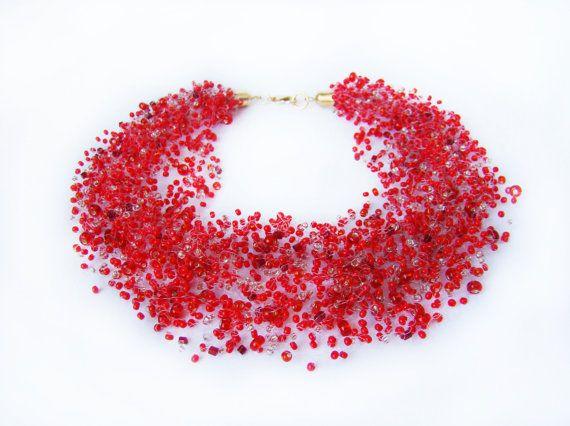 Valentines gift vrouwen rode ketting illusion door MonistoJewelry