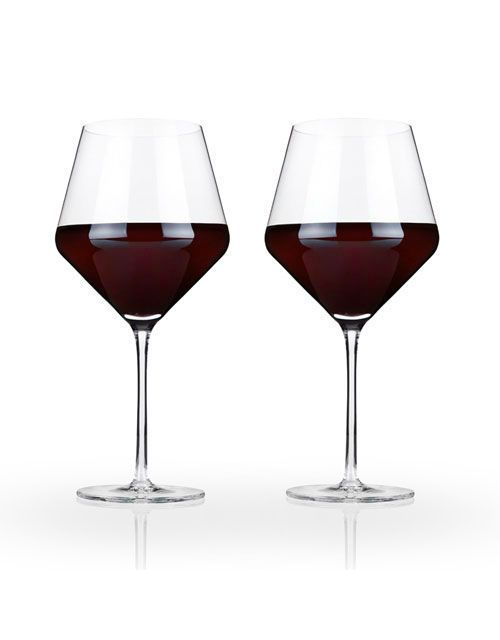 Raye Crystal Burgundy Glass Set Rooted in centuries of Venetian glassmaking tradition, crystal offers the purest, most elegant drinkware experience available. Its perfect clarity coupled with precise lines and angles define our flawlessly crafted Burgundy glass and unite our crystal collection as a whole.  21 oz Set of 2 Lead-free crystal
