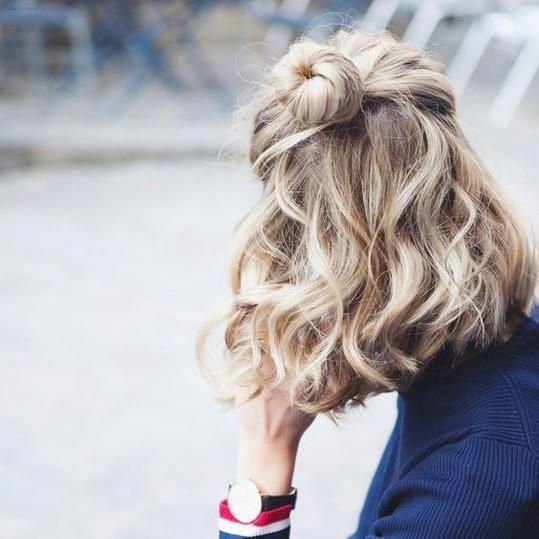 Half Bun For Short Hair Transform Your Natural Curls With These Gorgeous Buns Ponytails And Braids Curly Hair Though Packed With Life And Person Hairst Short Hair Bun Medium