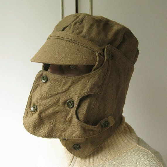 Vintage Military Hat, Authentic Hat, War Memorabilia, Afganistan Era, USSR Military, Officers Cap, Cap with Mask, Steampunk Gas Mask