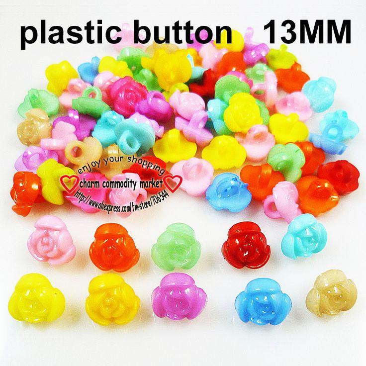 200PCS plastic PLAINT button 13MM FLOWERS ROSE KIDS buttons MIXED BULK P-030 $3,73