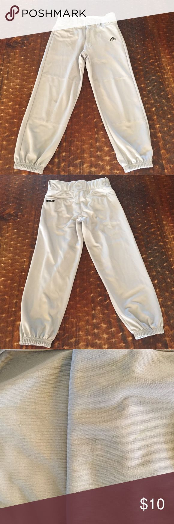 Adidas baseball pants, size S Adidas baseball pants, size S, a small stain on the knee and a place where a thread or two came out (see 3rd pic) but otherwise good used condition! Adidas Bottoms