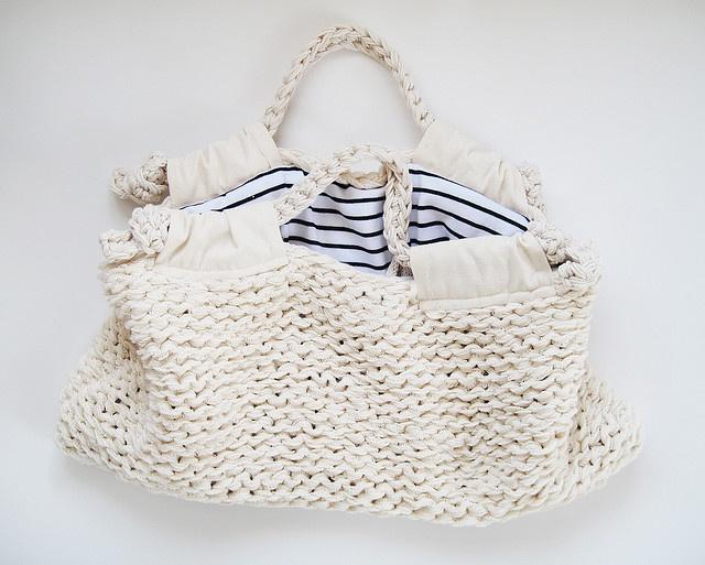 knit linen bag