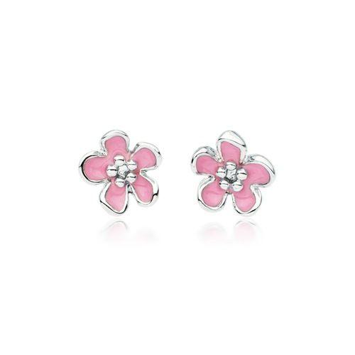 Cherry Blossom Pink Enamel Flower Stud Earrings Rhodium Plated