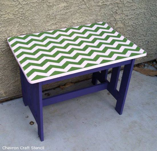 Love Chevron? Use the chevron craft stencil to add the perfect zig zag stripe to your table! http://www.cuttingedgestencils.com/chevron-stencil-templates-stencils.html