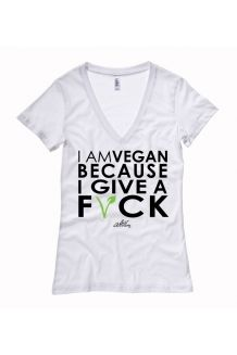 Deep V Neck Ladies Tee - I Am Vegan Because I Give A F*CK