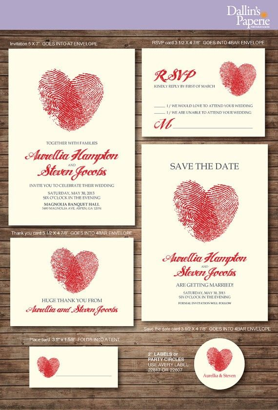 DIY wedding Thank you card - Wedding printable Invitations, Finger print Heart cards for wedding, Creative handmade wedding place cards, 2014 valentine's day ideas  www.loveitsomuch.com
