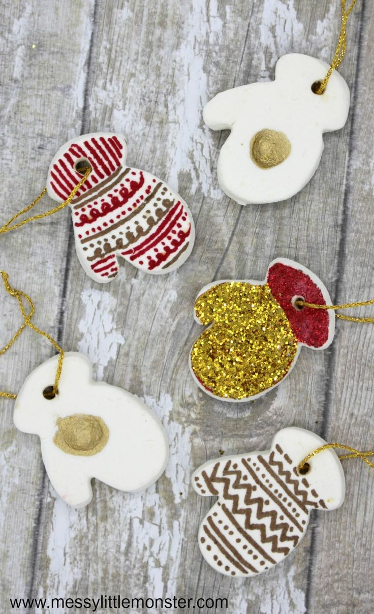 Homemade Clay Mitten Ornaments