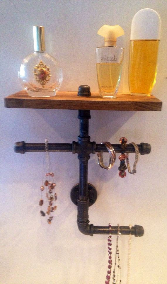 jewelry holder with shelf made with industrial pipe pick your own stain made with