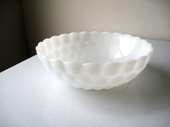 Midcentury White Milk Glass Bubble Bowl by ShantyIrishVintage