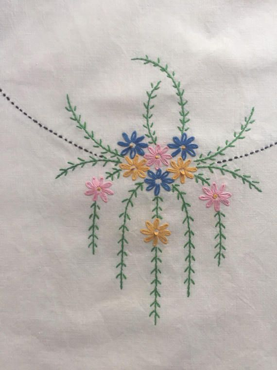 Beautiful embroidered table tunner or dresser scarf