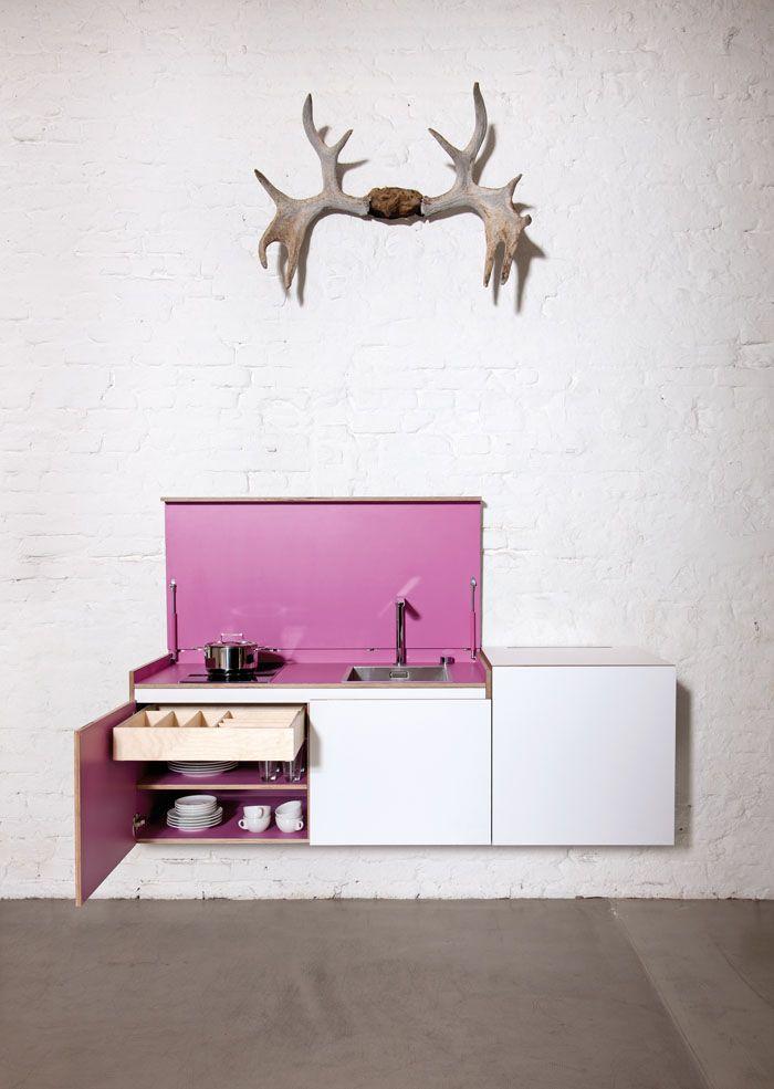 Small Kitchens Miniki Mini Kitchen in White and Pink open