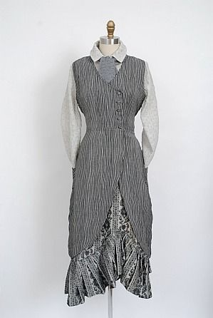 Look No. 5 from Collection One 2012 by Ivey Abitz. Features the Fitz Shirt beneath the Fitzgerald Frock in Wolfgang Grey Ribbed Weave.