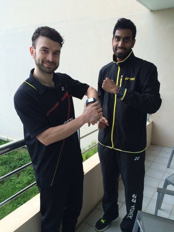 Chris Langridge and Rajiv Ousef UK badminton players with Fitbit Surge, for training and matches