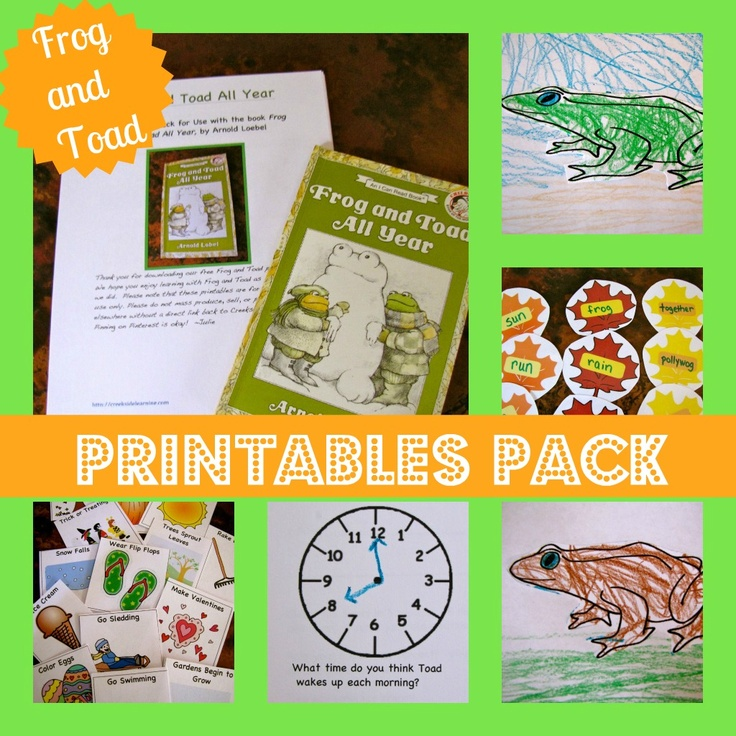 Free printables to go with Frog and Toad All Year. Includes activities for math, science and reading for preschool through 1st grade. From Creekside Learning.