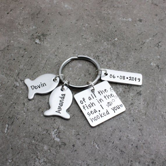 Personalized Anniversary Date Keychain, Of All The Fish In