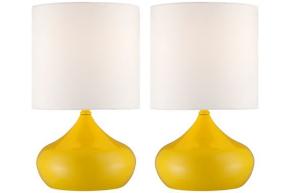 Vibrant yellow finish steel droplet bases create an engaging look for this set of two contemporary accent lamps.