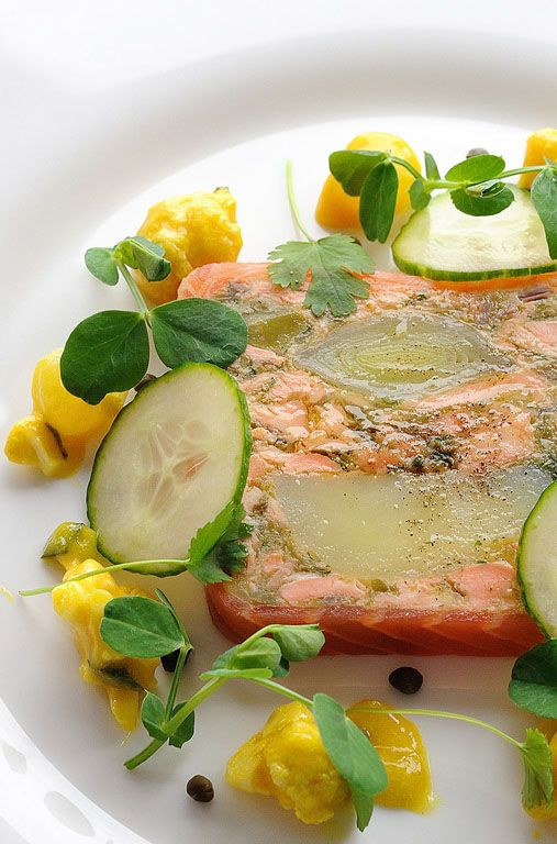 This colourful salmon terrine recipe is made with leeks and confit potato, making Josh Eggelton's terrine a really appetising starter for a Burn's Night dinner party.