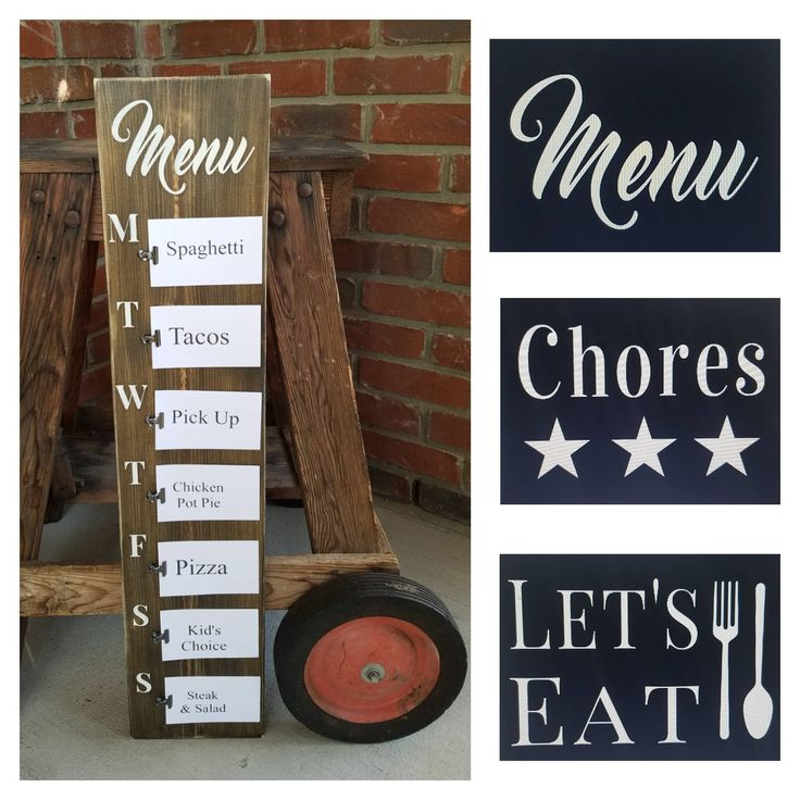 Rustic Weekly Menu Wood Sign. Weekly menu board, weekly menu planner, farmhouse menu sign, kitchen menu sign, kitchen sign, daily menu board by LoveTheJunk on Etsy https://www.etsy.com/listing/556493634/rustic-weekly-menu-wood-sign-weekly-menu