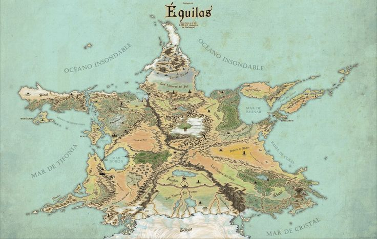 Done as a favour for a good friend, this map depicts his world of Equilas, a star-shaped continent criss-crossed by bottomless chasms. Done in Photoshop. Fonts used as Cardinal (for regions), Caste...