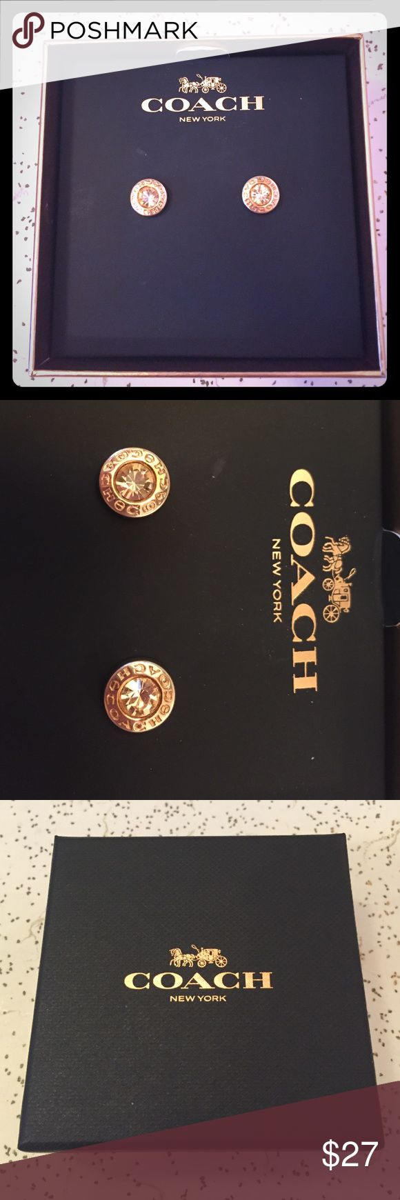 Rose Gold Colored Coach Earrings EUC Coach earrings. Comes with original box. Coach Jewelry Earrings