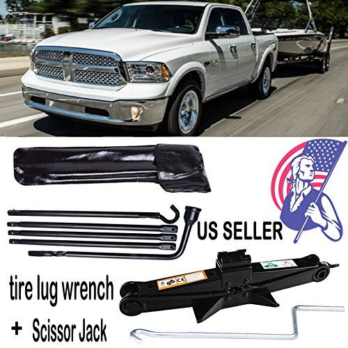 Portable Tools Kit Scissor Jack 2 Ton with Speed Handle + Spare Tire Lug Wrench For 2002-2015 Dodge Ram 1500  This Tire Tool fit for 2002-2015 Dodge Ram 1500. Use this kit to loosen or tighten wheel lug nuts, raise/lower the spare tire from under the vehicle, and raise/lower the jack that comes with your vehicle (jack not included).  The Scissor Jack is Universal, with tooth gears, can extend from 105mm(close position) to 385mm, more than enough to lift most vehicles. Easy to operate u...
