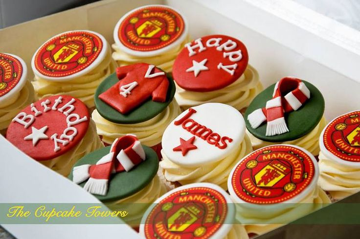 The Cupcake Towers - Cupcakes  Manchester United Themed