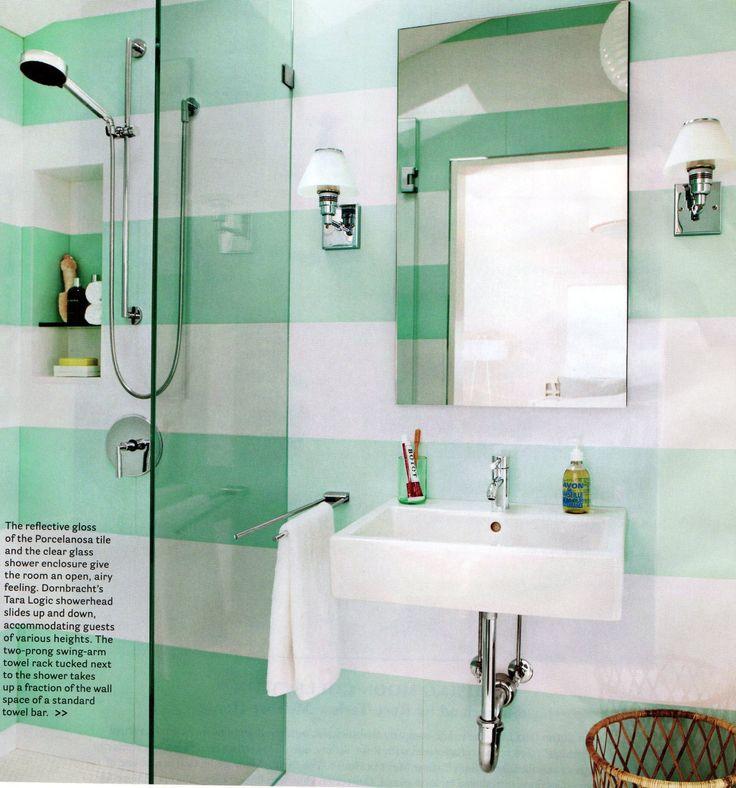 Mint + white Porcelanosa gloss tile in wide stripes: Interior, Small Bathroom, Color, Striped Bathroom, Bathroom Ideas, House, Stripes, Design