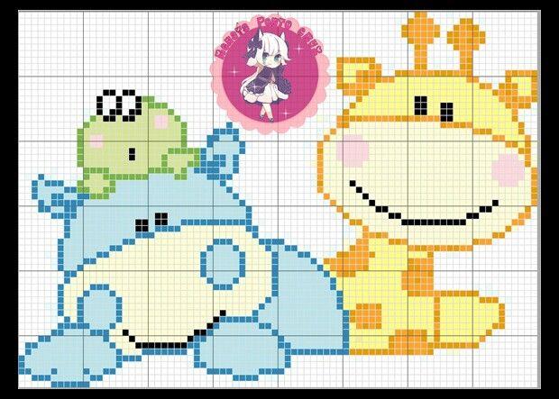 Girafa, sapinho, hipopótamo