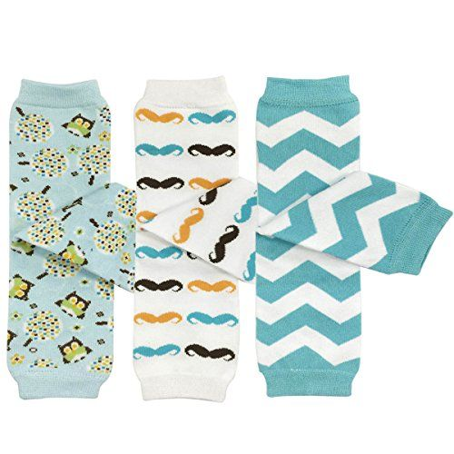 Bowbear Baby 3-Pair Leg Warmers Owls Moustaches Blue Chevron